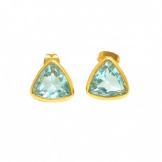 Blue Topaz Triangle Shape Gemstone 925 Sterling Silver Gold Plated Stud Earrings