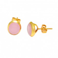 Oval Shape Pink Quartz Gemstone 925 Sterling Silver Gold Plated Stud Earrings