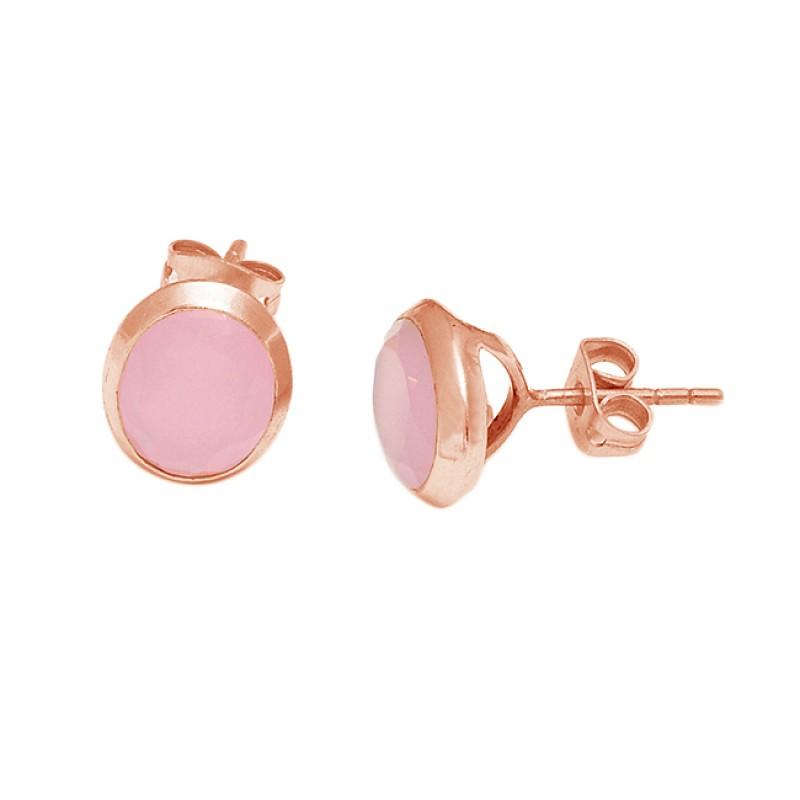 Oval Shape Pink Quartz Gemstone 925 Sterling Silver Gold Plated Stud Earrings