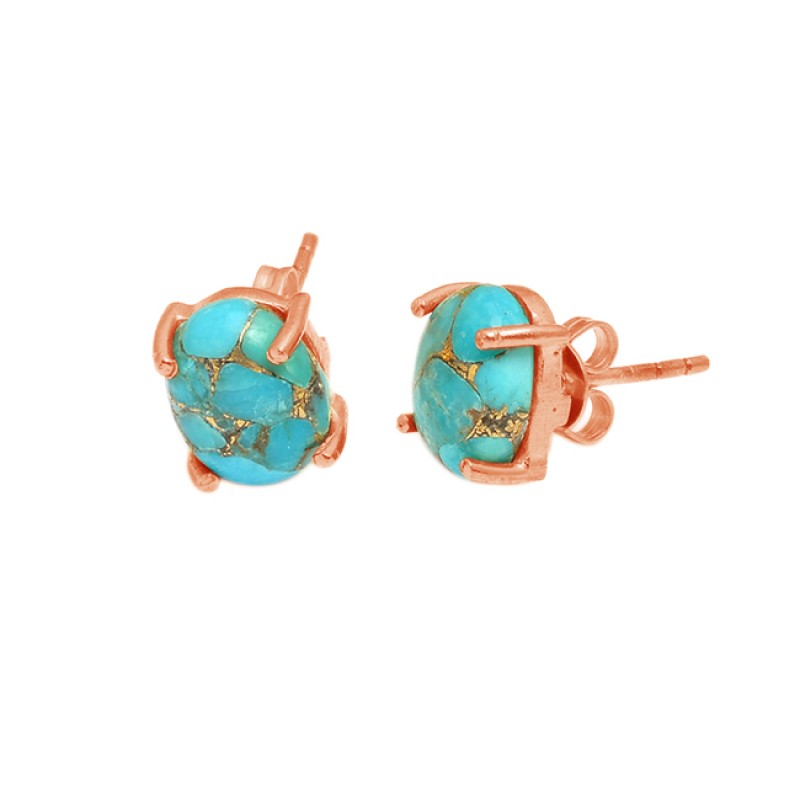 Oval Shape Blue Copper Turquoise Gemstone 925 Sterling Silver Gold Plated Stud Earrings