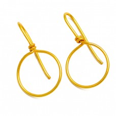 Handcrafted Designer Plain 925 Sterling Silver Gold Plated Fixed Ear Wire Earrings