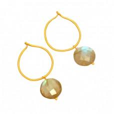 925 Sterling Silver Labradorite Round Shape Gemstone Gold Plated Hoop Earrings