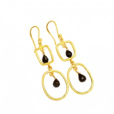 925 Sterling Silver Black Onyx Pear Drops Shape Gemstone Gold Plated Dangle Earrings