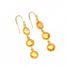Bezel Setting Round Shape Citrine Gemstone 925 Silver Gold Plated Dangle Earrings