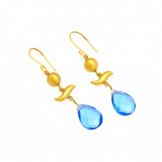 Blue Topaz Pear Shape Gemstoe 925 Sterling Silver Gold Plated Dangle Earrings