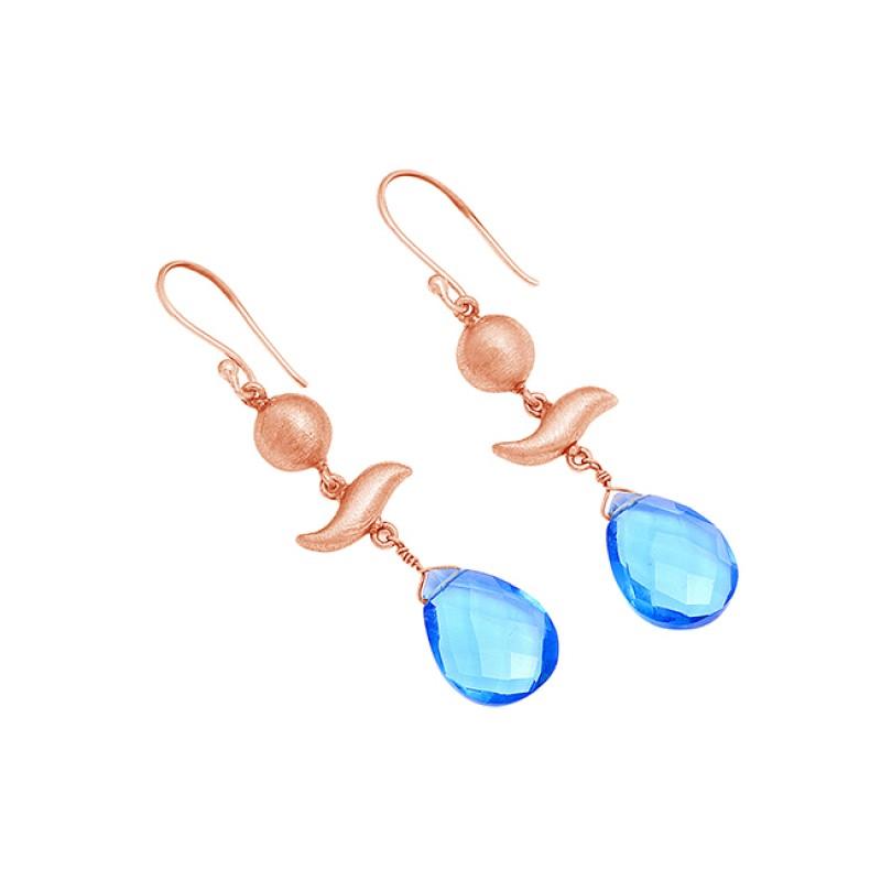 Blue Topaz Pear Shape Gemstoe 925 Sterling Silver Gold Plated Dangle Earrings