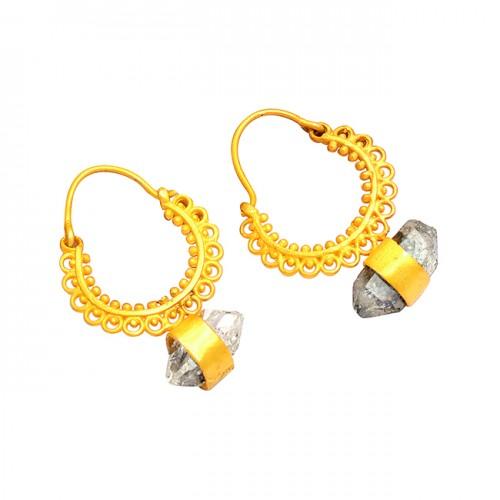 925 Sterling Silver Black Rutile Quartz Rough Gemstone Gold Plated Earrings