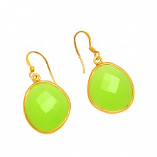 Oval Shape Prehnite Chalcedony Gemstone 925 Sterling Silver Gold Plated Earrings