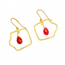 925 Sterling Silver Ruby Pear Drops Shape Gemstone Gold Plated Dangle Earrings