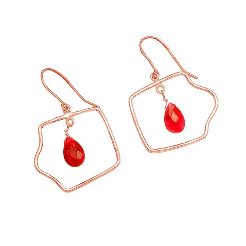 925 Sterling Silver Ruby Pear Drops Shape Gemstone Gold Plated Dangle Earrings