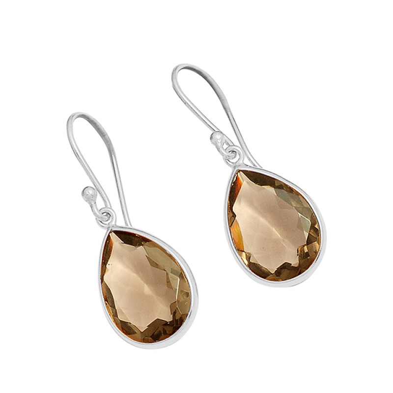 Pear Shape Smoky Quartz Gemstone 925 Sterling Silver Gold Plated Dangle Earrings