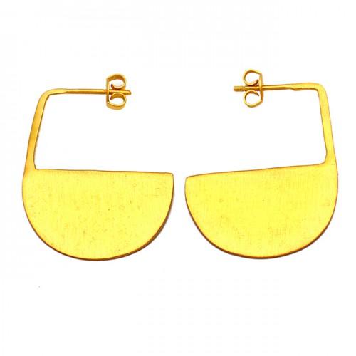 Unique Designer Plain 925 Sterling Silver Gold Plated Handmade Hoop Earrings