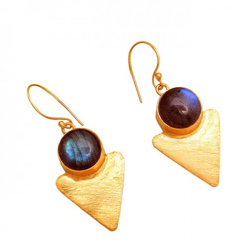 925 Sterling Silver Round Shape Lebradorite Gemstone Gold Plated Dangle Earrings