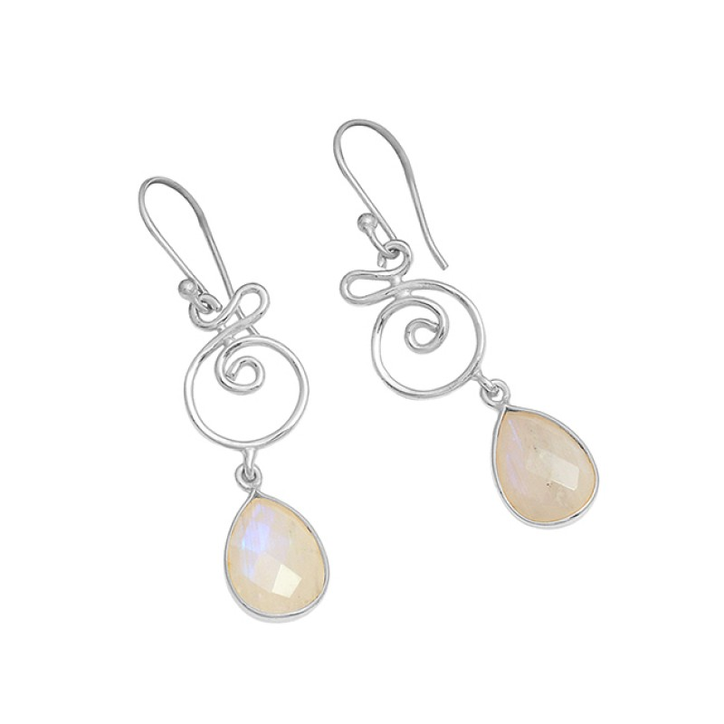 Designer Rainbow Moonstone Pear Shape Gemstone 925 Silver Gold Plated Earrings