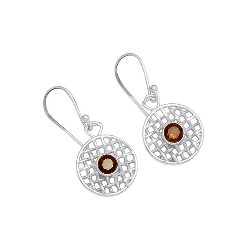925 Sterling Silver Round Shape Smoky Quartz Gemstone Gold Plated Designer Earrings