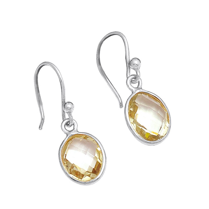 925 Sterling Silver Green Amehyst Oval Shape Gemstone Gold Plated Dangle Earrings