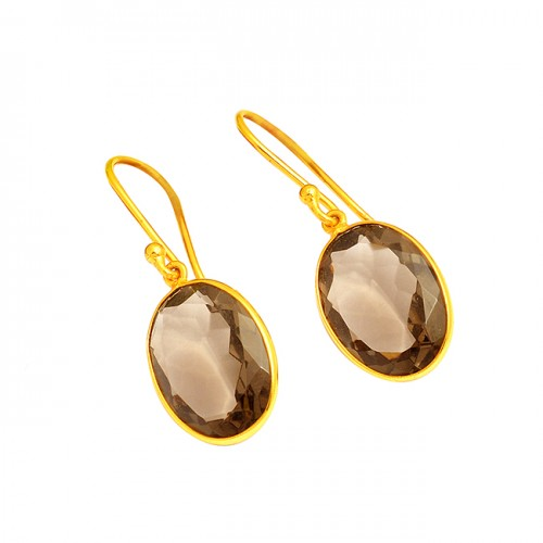 Oval Shape Smoky Quartz Gemstone 925 Sterling Silver Gold Plated Dangle Earrings