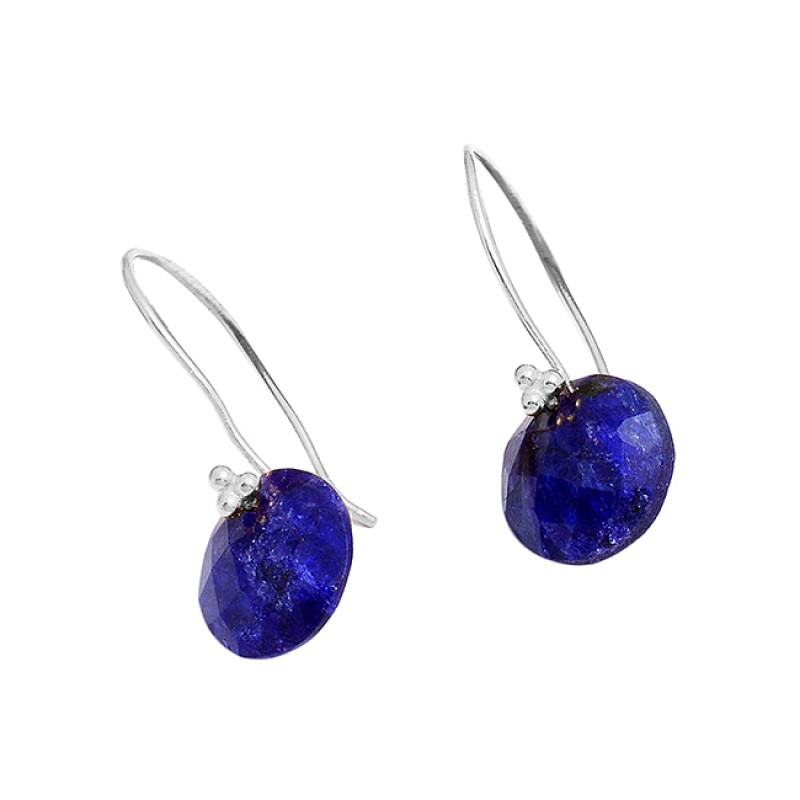 925 Sterling Silver Lapis Lazuli Round Shape Gemstone Gold Plated Earrings