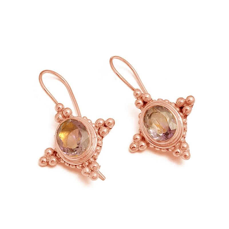 Amethyst Oval Shape Gemstone 925 Sterling Silver Gold Plated Dangle Earrings