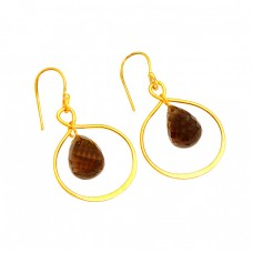 Smoky Quartz Pear Drops Shape Gemstone Gold Plated Handmade Earrings