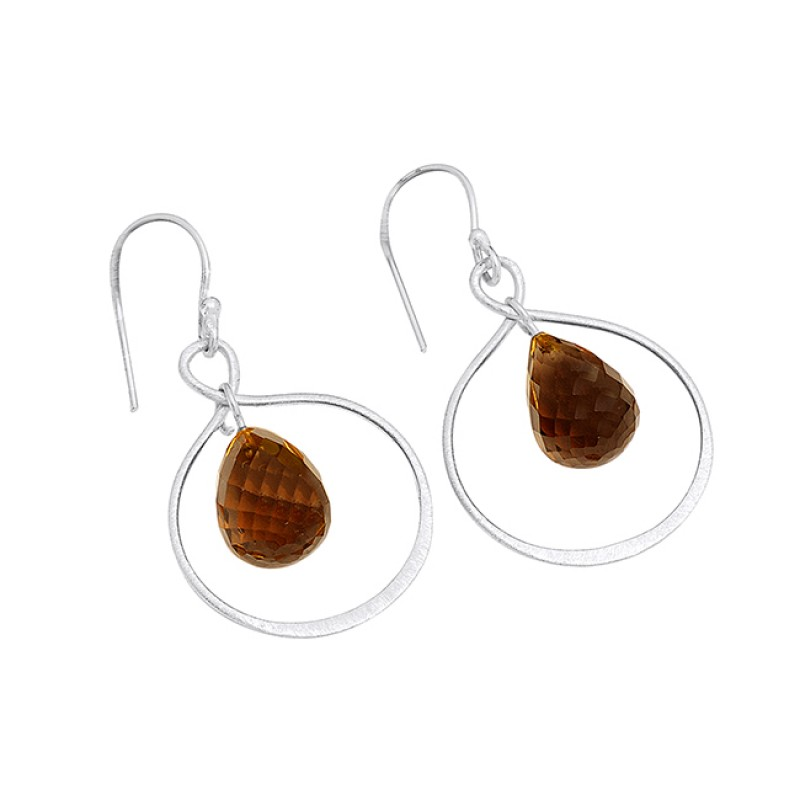 Smoky Quartz Pear Drops Shape Gemstone Gold Plated Handmade Earrings