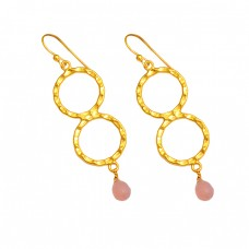 925 Sterling Silver Pink Quartz Pear Drops Shape Gemstone Gold Plated Earrings