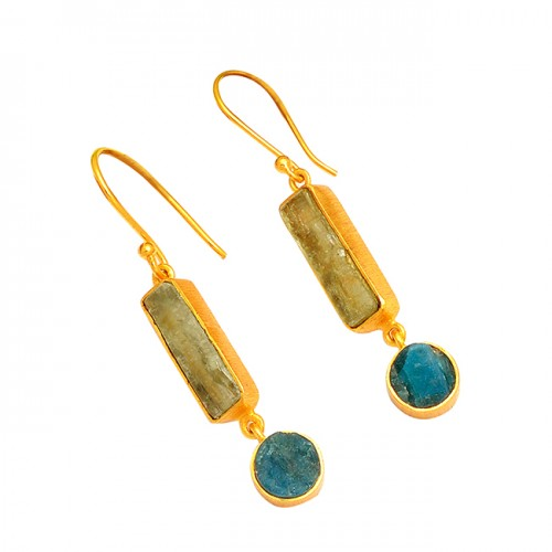 Raw Material Apatite Rough Gemstone 925 Sterling Silver Gold Plated Earrings