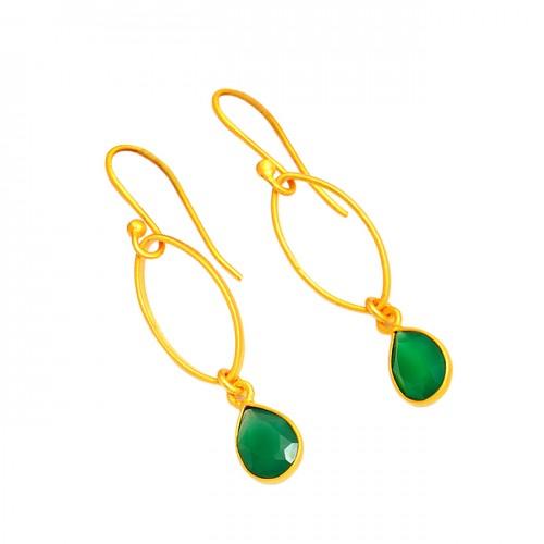 925 Sterling Silver Green Onyx Pear Shape Gemstone Gold Plated Dangle Earrings