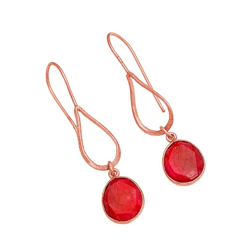 925 Sterling Silver Oval Shape Ruby Gemstone Gold Plated Dangle Earrings
