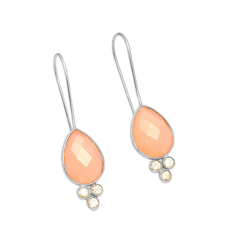925 Sterling Silver chalcedony Cz Gemstone Fixed Ear Wire Gold Plated Earrings