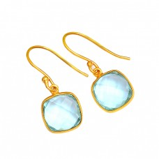 Cushion Shape Blue Topaz Gemstone 925 Sterling Silver Gold Plated Dangle Earrings