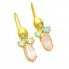 925 Sterling Silver Chalcedony Rose Quartz Gemstone Gold Plated Stylish Earrings