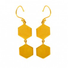 Hexagon Shape Designer Plain 925 Sterling Silver Gold Plated Dangle Earrings