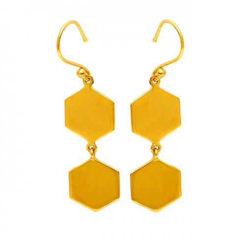 Hexagon Shape Designer Plain 925 Sterling Silver Gold Plated Dangle Earrings