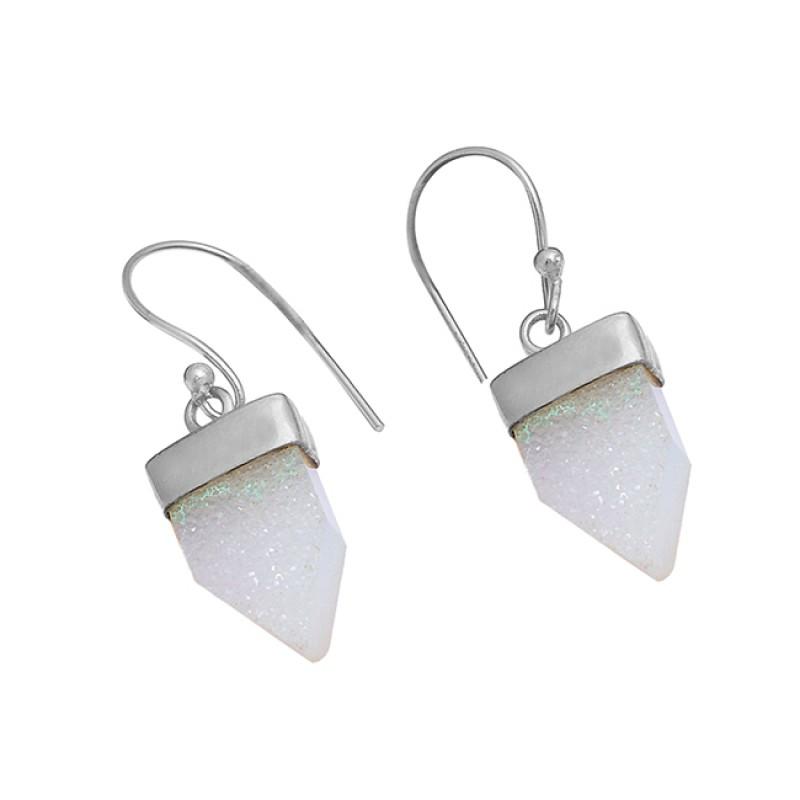 White Druzy Gemstone 925 Sterling Silver Gold Plated Dangle Handmade Earrings