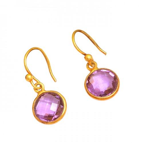 Bezel Setting Amethyst Round Shape Gemstone 925 Silver Gold Plated Earrings