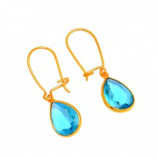 Blue Topaz Pear Shape Gemstone 925 Sterling Silver Gold Plated Dangle Hoop Earrings