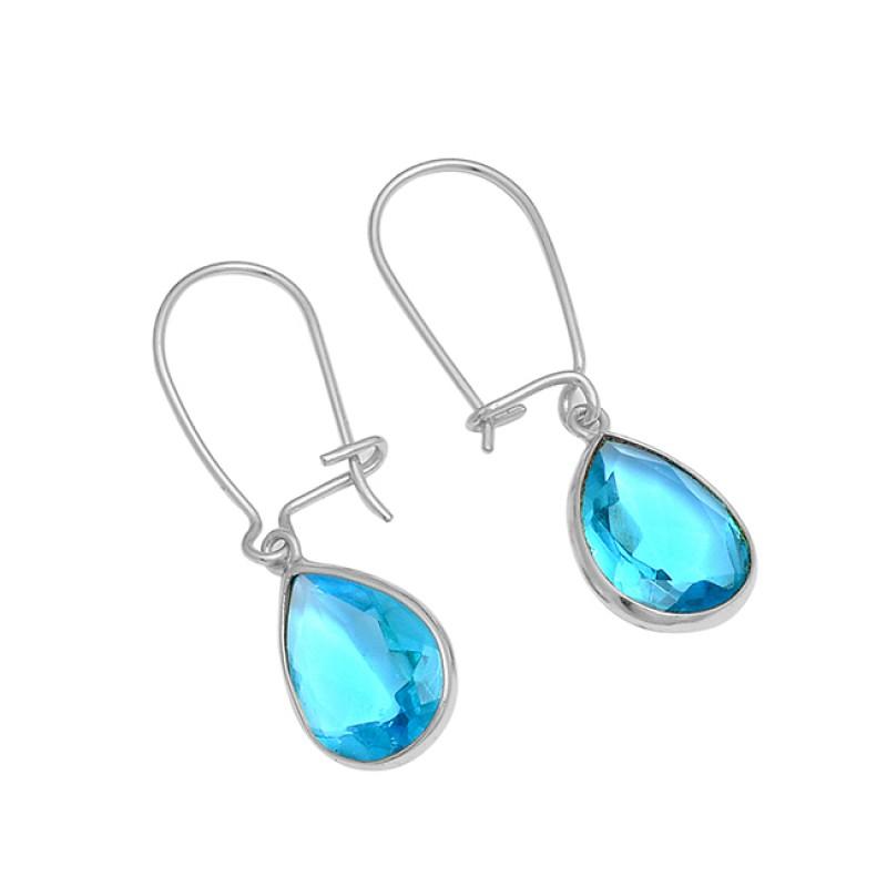 Blue Topaz Pear Shape Gemstone 925 Sterling Silver Gold Plated Dangle Hoop Earrings