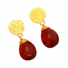 925 Sterling Silver Red Quartz Pear Shape Gemstone Gold Plated Stud Earrings