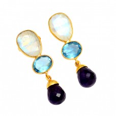 925 Sterling Silver Rainbow Blue Topaz Amethyst Gemstone Gold Plated Stud Earrings