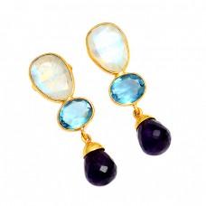 925 Sterling Silver Rainbow Blue Topaz Amethyst Gemstone Gold Plated Stud Earrings