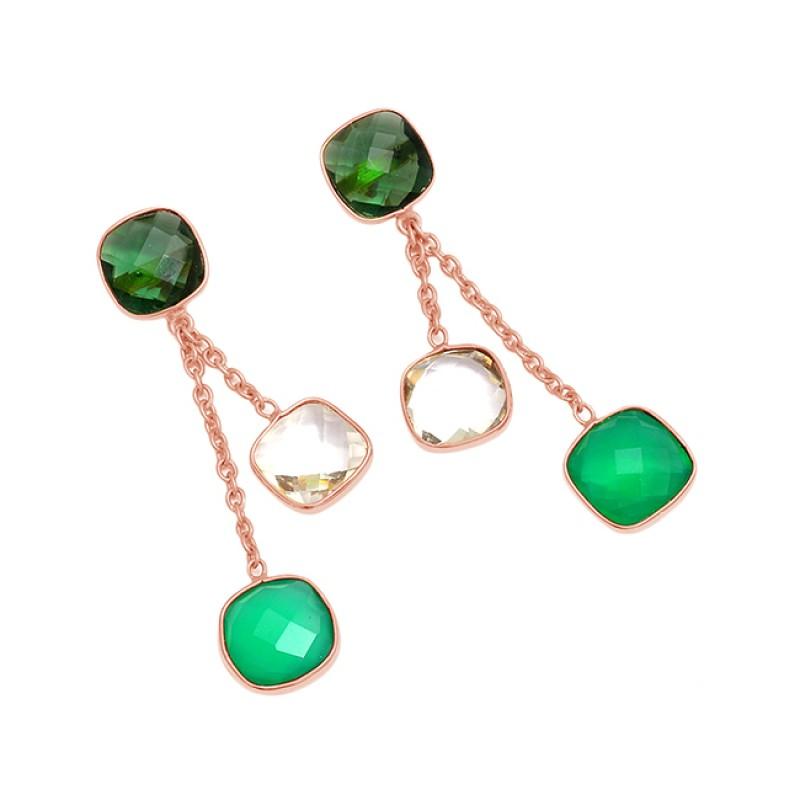 925 Sterling Silver Briolette Cushion Shape Gemstone Gold Plated Chain Dangle Earrings
