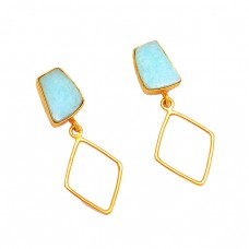 Blue Larimar Gemstone 925 Sterling Silver Gold Plated Dangle Earrings