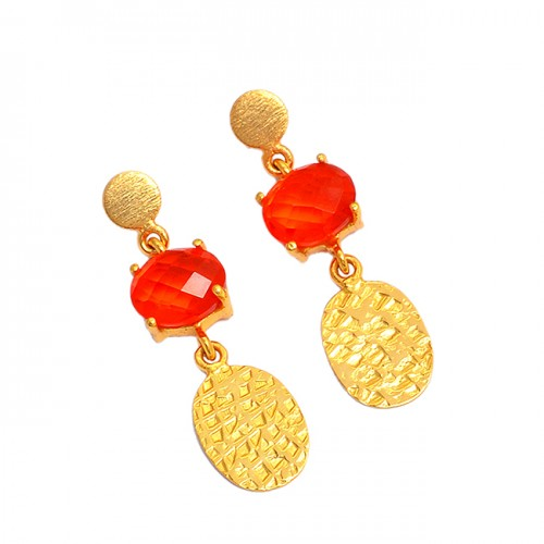 925 Sterling Silver Orange Quartz Oval Shape Gemstone Gold Plated Dangle Earrings