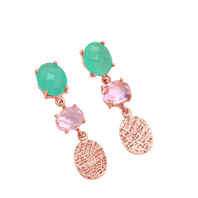 925 Sterling Silver Chalcedony Pink Quartz Gemstone Gold Plated Dangle Earrings