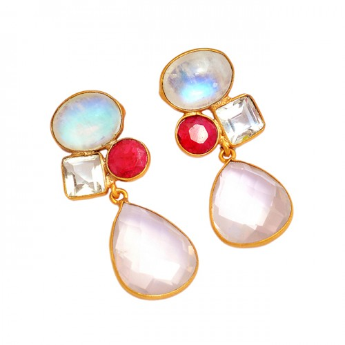 925 Sterling Silver Multi Color Gemstone Gold Plated Designer Stud Earrings