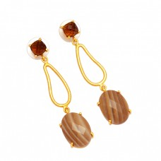 Designer Smoky Quartz Flint Gemstone 925 Sterling Silver Gold Plated Dangle Earrings