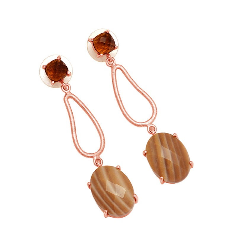 Designer Smoky Quartz Flint Gemstone 925 Sterling Silver Gold Plated Dangle Earrings