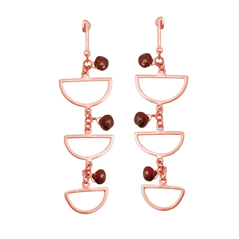 925 Sterling Silver Garnet Heart Shape Gemstone Gold Plated Handmade Earrings