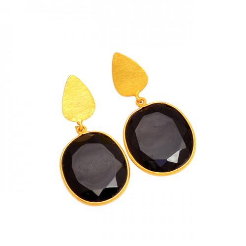 925 Sterling Silver Black Onyx Oval Shape Gemstone Gold Plated Stud Dangle Earrings
